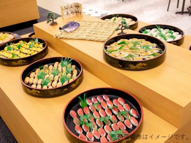夕食バイキング寿司食べ放題一例