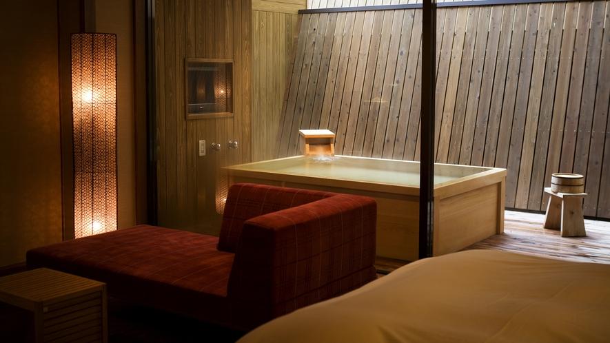【富士見台/専有露天風呂付ツイン】和と洋が融合した室内(一例)