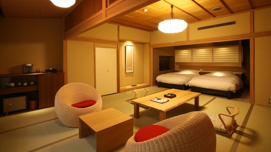 【富士見台/専有露天風呂付和洋室】ツインベッドが設置された室内