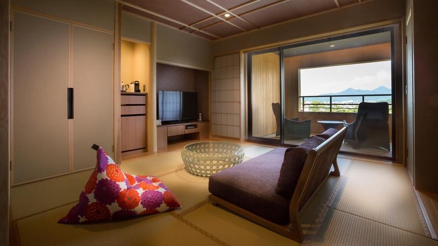 【山翠閣/専有露天風呂付和洋室C】庭園に面した和洋室