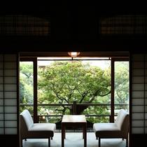 【数寄屋造り離れ/泉亭】庭園の緑が差し込む室内