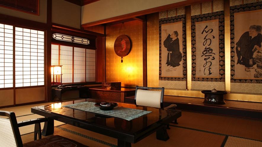 【数寄屋造り離れ/長生殿】堀江頼直による「寒山拾得」が飾られた室内
