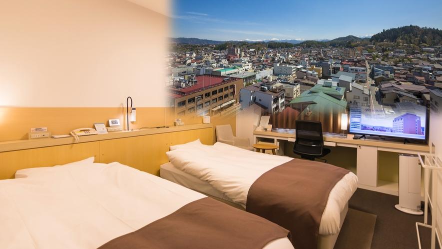 ハイフロアツインルームは添い寝にも対応可能。その場合、ベッドはハリウッド形式でご用意します。