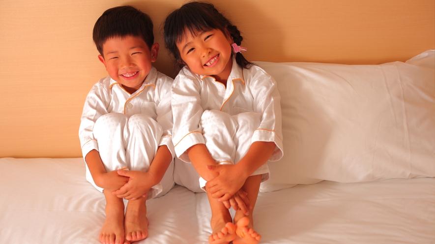大人用とおそろいで、お子様用のパジャマもご用意しております。