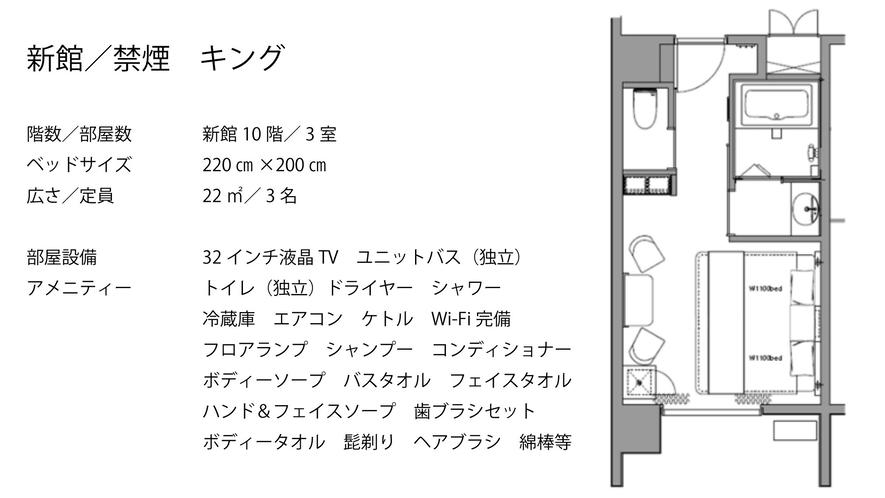 【新館/禁煙】キング  キングベッド(1台)220×200
