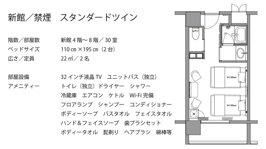 【新館/禁煙】スタンダードツイン シングルベッド(2台)110×200