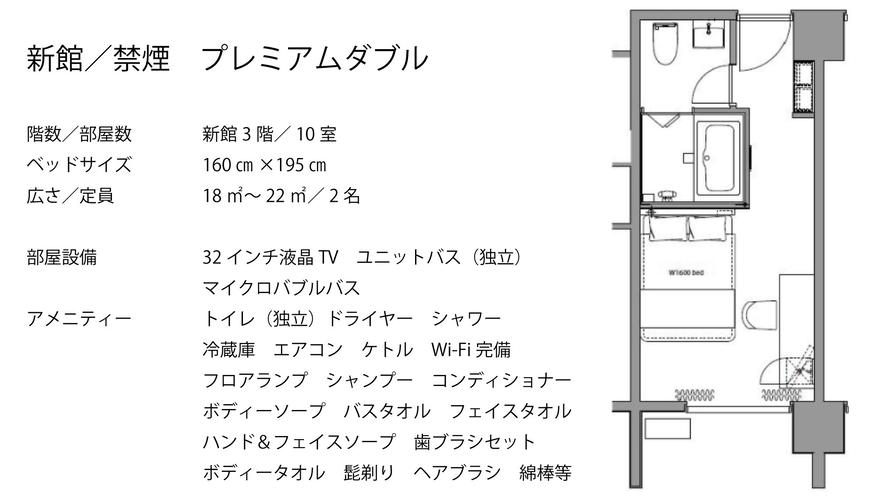 【新館/禁煙】プレミアムダブル  クイーンベッド(1台)160×200 マイクロバブルバス付