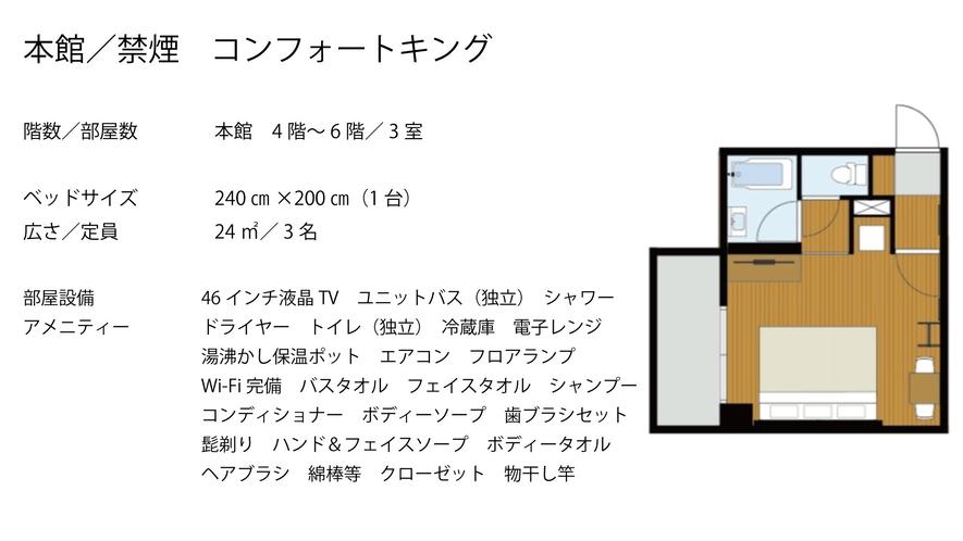 【本館/禁煙】コンフォートキング バストイレ別  キングベッド240×200(1台)