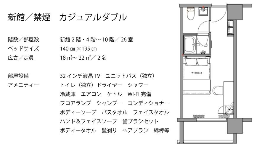 【新館/禁煙】カジュアルダブル ダブルベッド(1台)140×200 ビジネスやカップルにおすすめ