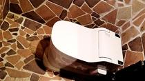 ウォシュレットのトイレです。テラコッタ割りタイルを丁寧に張り合わせしてます。