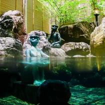 露天風呂の河童と入浴