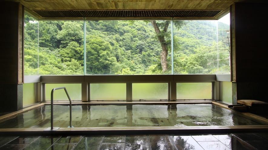 大きな窓の外に景色が広がる内湯