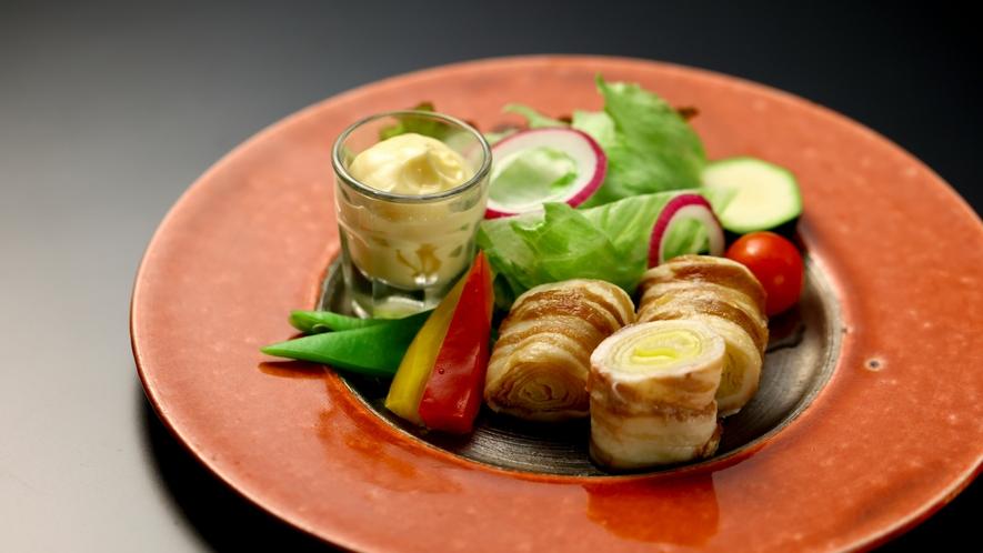 別注料理:米豚松本一本葱焼き