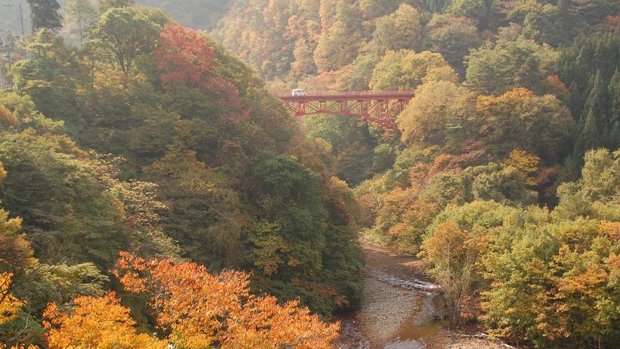 紅葉に映える高井橋
