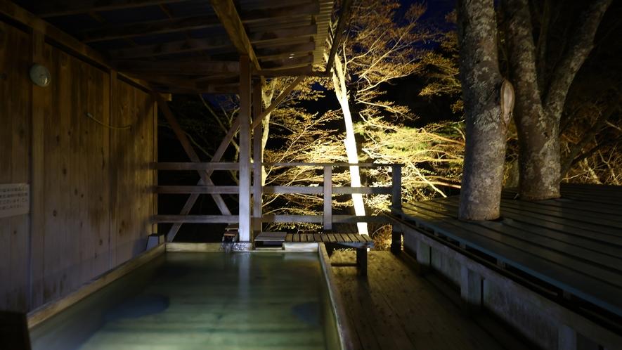 天空の小鳥風呂・角 夜間のライトアップが幻想的な空間を演出