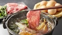 由利牛と山菜のすき焼き