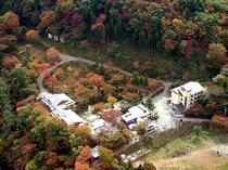 紅葉に囲まれた施設全景1(航空画像)