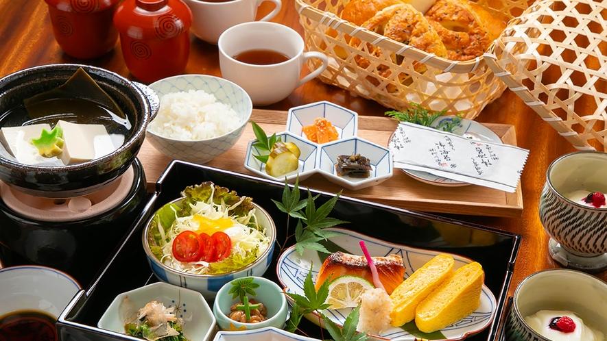 和食膳に パンとコーヒーが 楽しめます
