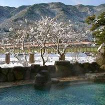 男性野天風呂から眺める冬景色