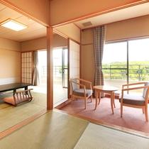 ひのき亭…和室10~12畳+控間4.5畳、広縁、バルコニー、バス。トイレ付。禁煙室もあります