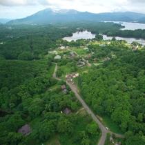 ペンション上空から...磐梯山・曽原湖・桧原湖がよく見えます