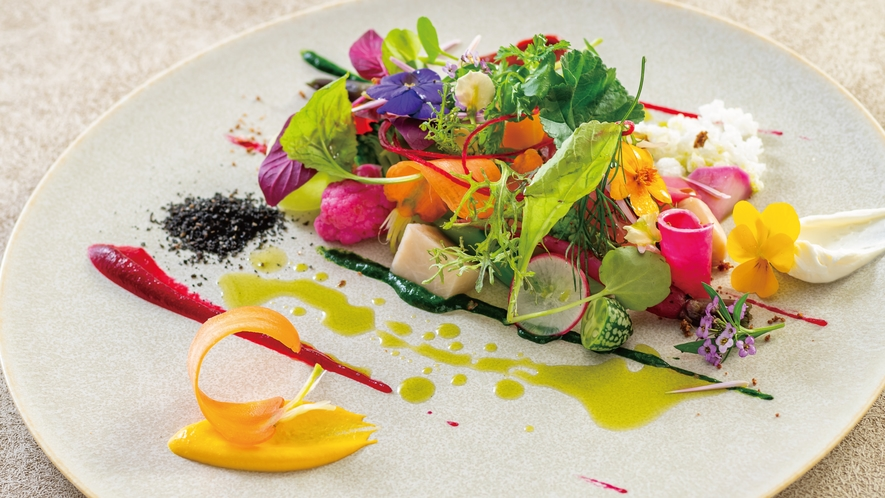 那須のフランス料理『メリメランジュ』★ファランドール・ド・レギューム 皿の上で踊る煌めく旬野菜達