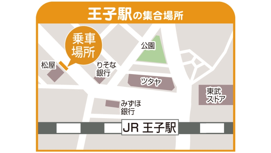 バスパック:集合場所地図【王子】(2018年4月1日~運行)