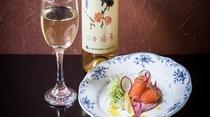 信州サーモンのカルパッチョと信州ワイン