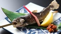夕食 岩魚の塩焼き