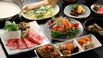 夕食一例 季節の和会席 白湯鍋で地鶏のつみれと信州ポークをしゃぶしゃぶで。