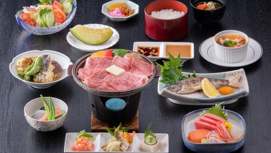 夕食の和食会席「浅間コース」(イメージ。季節や仕入れ状況によって内容は一部変わります)