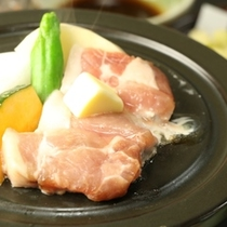 夕食_みゆきポークの陶板焼き