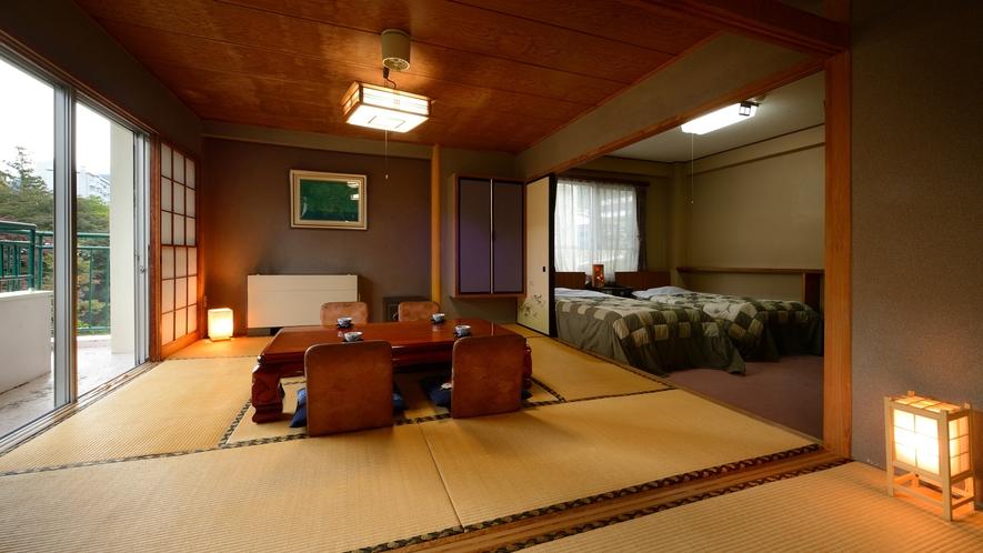 【二間続きのお部屋】バス、トイレ付きの広々とした二間続きのお部屋