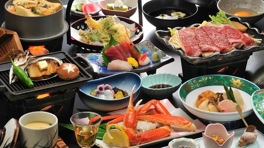 【酒蒸しあわびとずわい蟹】しっとり滑らかな舌触りと、かにの風味、繊細な甘さが本物の証。
