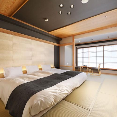 和モダン「粋」ツイン客室はベッドをつなげてご家族でもご利用OK