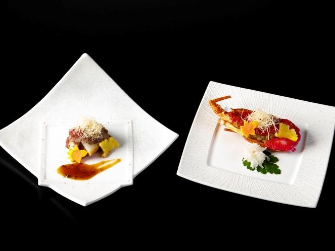 特選会席~2021年秋~選択料理(一例)「伊勢海老料理」または「肉料理」のどちらかをお選びください。