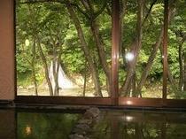 1. お風呂から見た対岸の滝 (対岸からはお風呂の中は見えませんのでご安心下さい)
