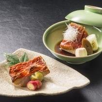 金目鯛は煮付け、または塩焼きから選べます