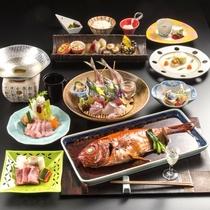 金目鯛姿煮&金目鯛しゃぶしゃぶと牛カルビ陶板焼きプランの献立一例