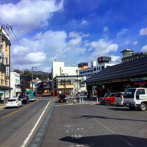 当館と飯坂温泉駅の立地です。駐車場は正面左隣をご利用下さい