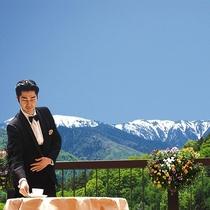 【スカイガーデンテラス】優雅なひとときを~雪が残るアルプスをバックに~
