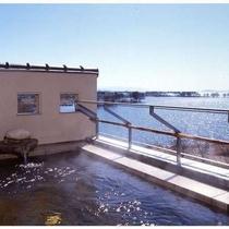 大浴場露天風呂からは南側の景色が。冬には一面水鳥の楽園に。
