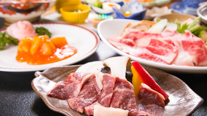 【巡るたび、出会う旅。東北】2大牛会席<陶板焼き+すき焼き>人気No.1★県産和牛とことん食べ比べ