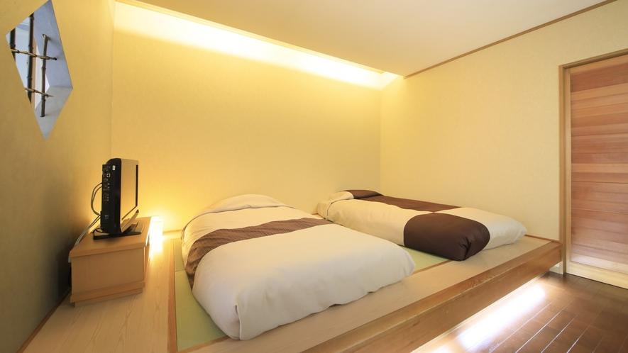 【客室一例】別館露天風呂付き客室(ツイン)…和風ベッドを備えた、新しいスタイルのお部屋です。