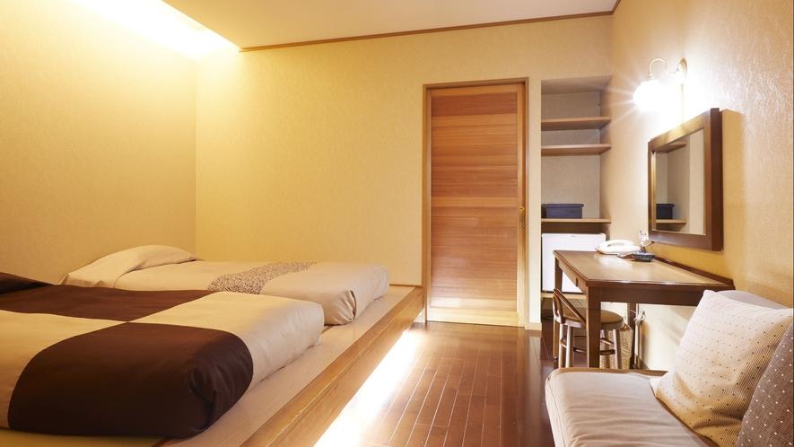 【客室一例】別館露天風呂付き客室(ツイン)…やわらかな雰囲気のお部屋は快適さに富んだレイアウトです