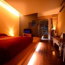 【客室一例】別館露天風呂付き客室(ダブル)…和風ベッド・シャワーブースを備えたコンパクトなお部屋。