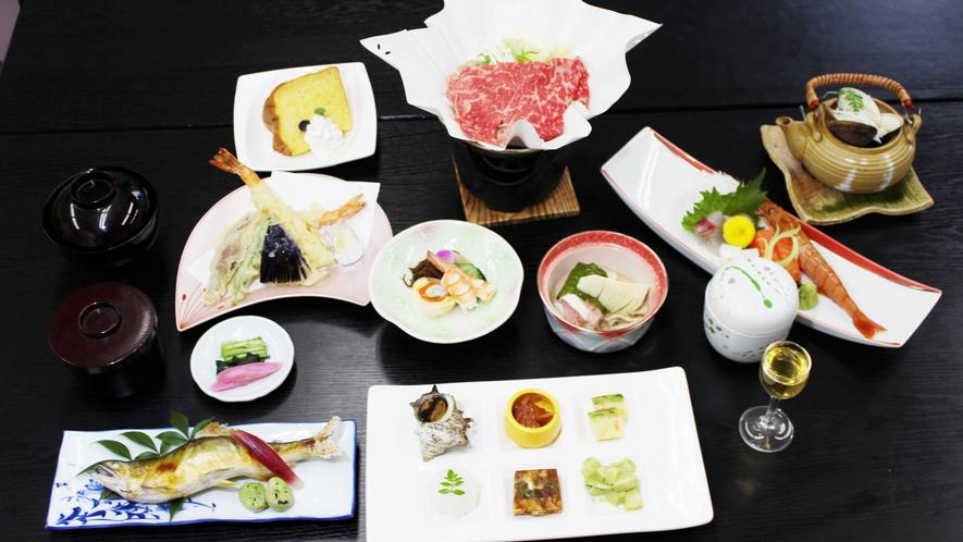 *【料理】寿膳一例でございます。お野菜もたっぷりで、ヘルシーな献立内容