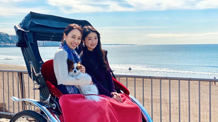 愛犬と一緒に人力車で鎌倉観光(イメージ)