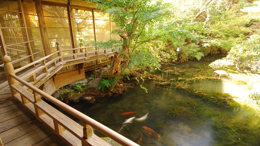 【中庭】広々とした庭園の池には優雅に泳ぐ鯉が…回廊の歴史を眺めてきました
