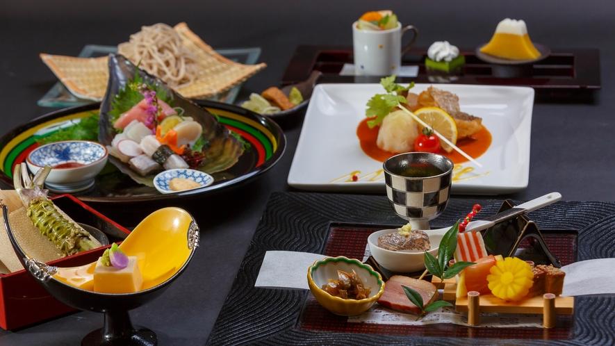 【夕食】月替わりの趣肴会席 台の物、洋皿、お食事が選べます※年末年始はおまかせ特別料理をご用意